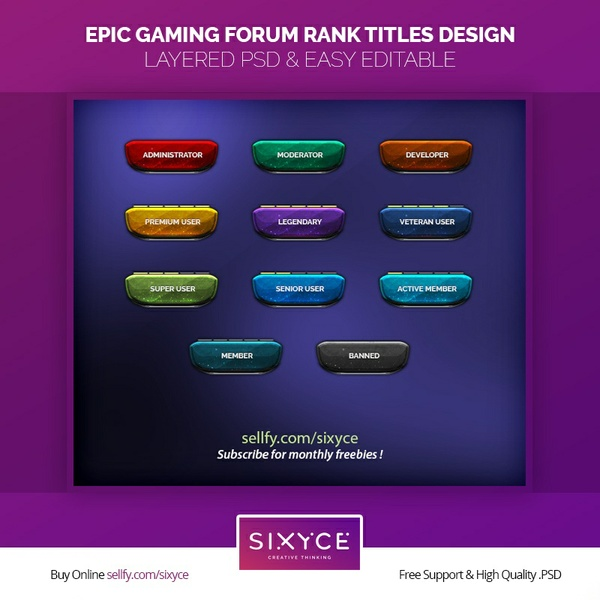 Epic Gaming Forum Ranks Titles Design