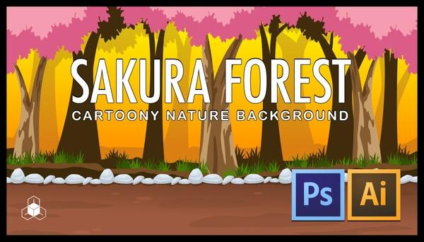 2D SAKURA FOREST - Cartoony Parallax Nature Background