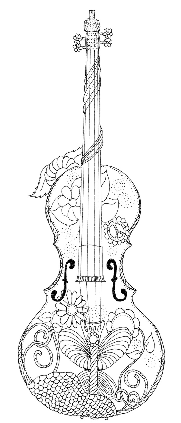 Hippy Guitar Coloring Page southernskystudio