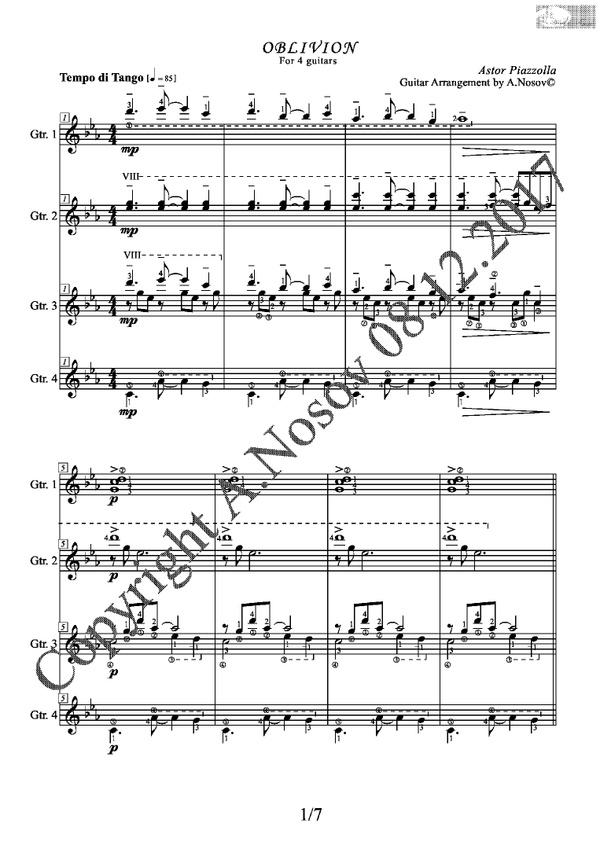 Oblivion (A.Piazzolla) Sheet Music for Guitar Quartets