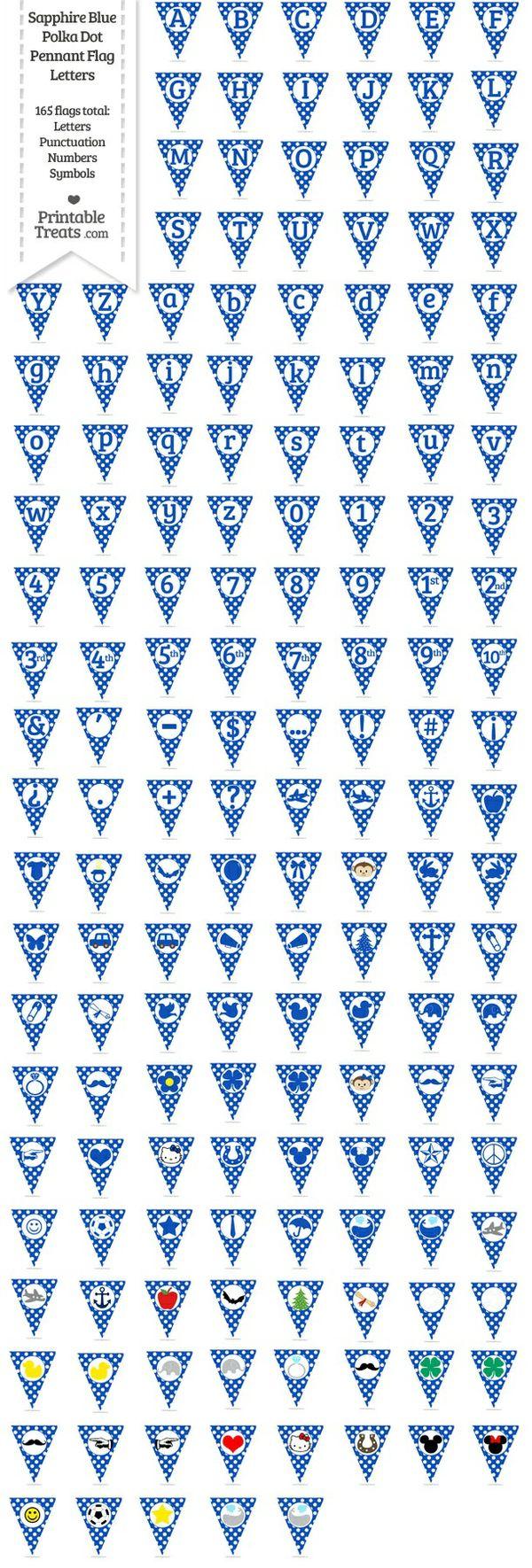 165 Sapphire Blue Polka Dot Pennant Flag Letters Password