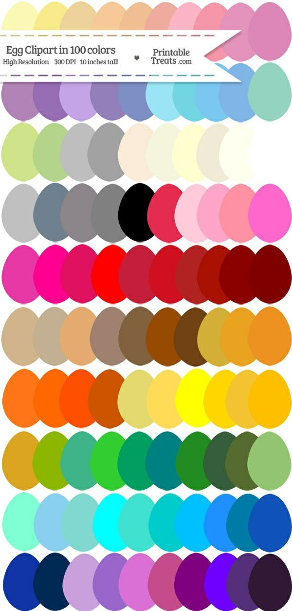 100 Colors Egg Clipart Password