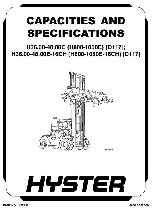 Hyster Forklift Type D117: H36/H40/H44/H48.00E (H800E, H880E, H970E, H1050E) Workshop Manual