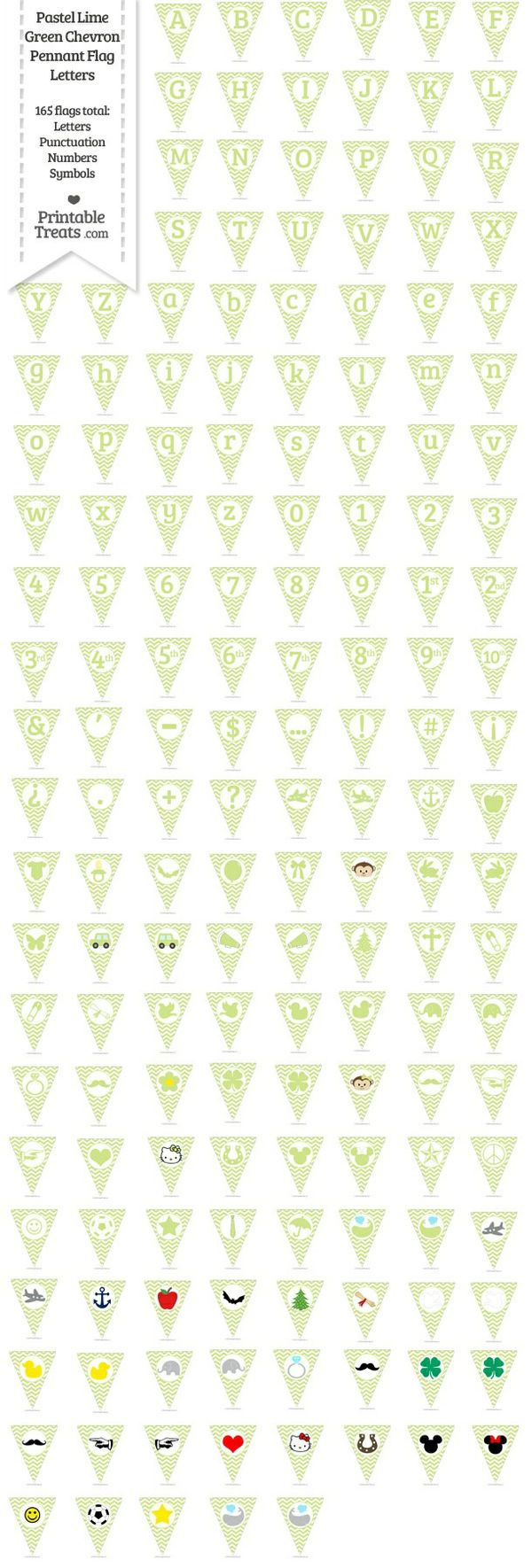 165 Pastel Lime Green Chevron Pennant Flag Letters Password