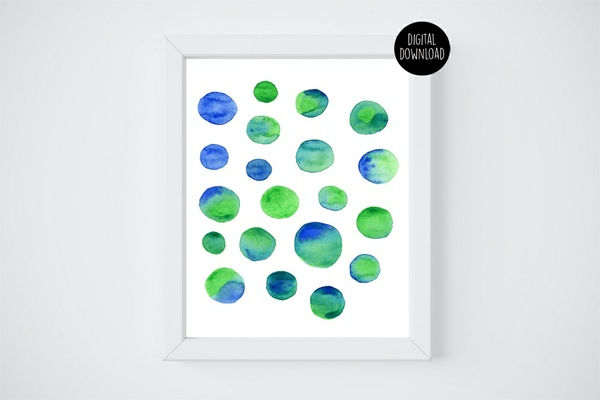 blue and green circles watercolor painting // 8x10 // printable digital download