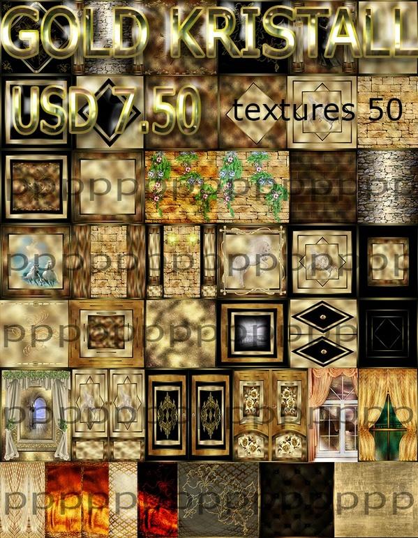 gold kristal 50 texture 7.50 usd