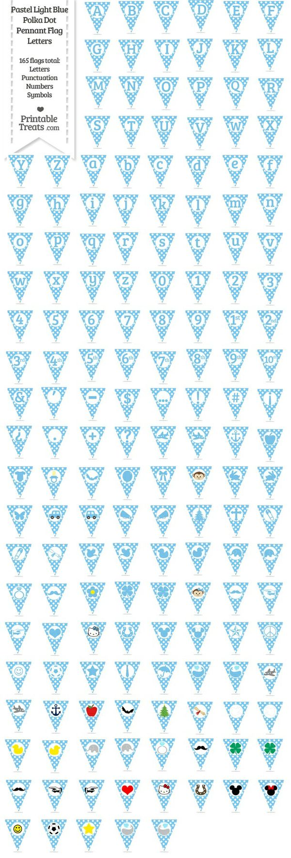 165 Pastel Light Blue Polka Dot Pennant Flag Letters Password