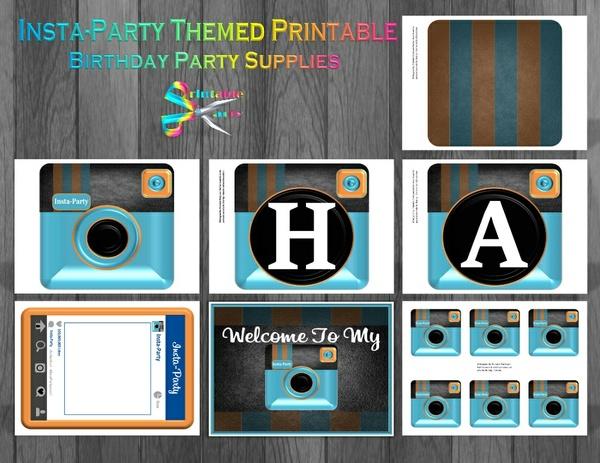 Insta-Party Printable Birthday Supplies-Blue Orange