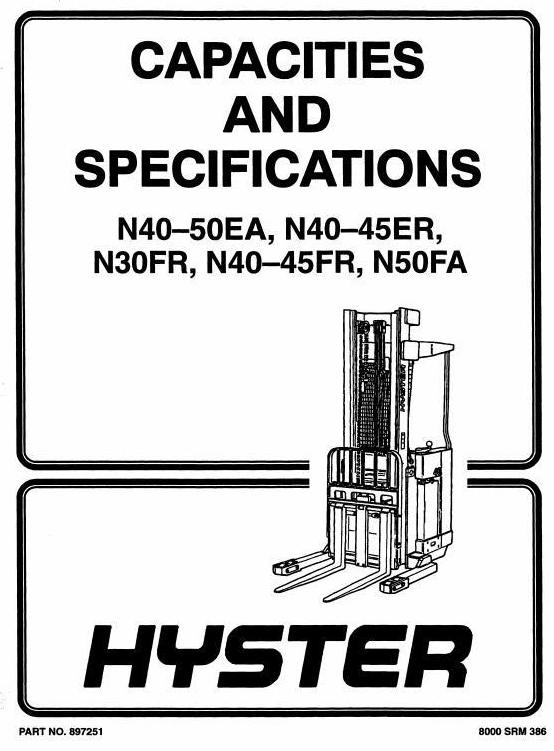 Hyster Electric Forklift Truck Type D138: N40FR, N45FR, N50FA Workshop Manual