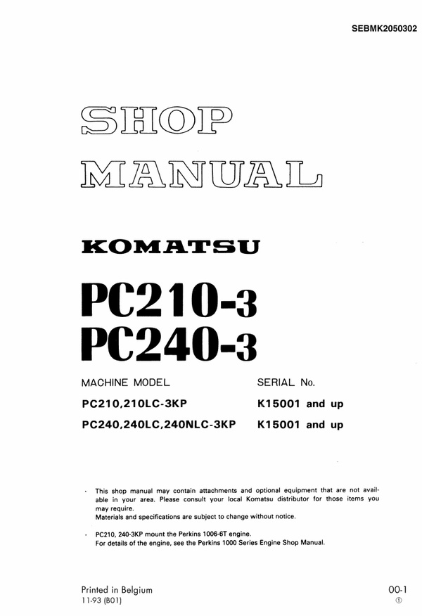 Komatsu PC210-3KP - PC240NLC-3KP Excavator Service Shop Manual Download (SN K15001 and up)