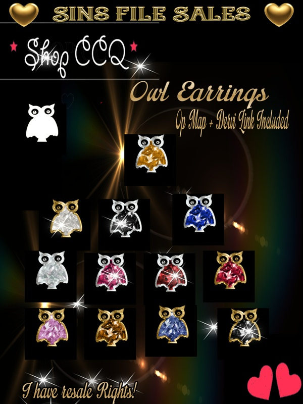 Owl Earring Set with op Map