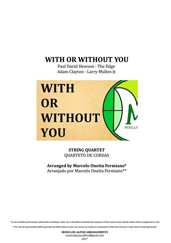 With or Withour You   U2   Quarteto de Cordas   Partitura Completa Download