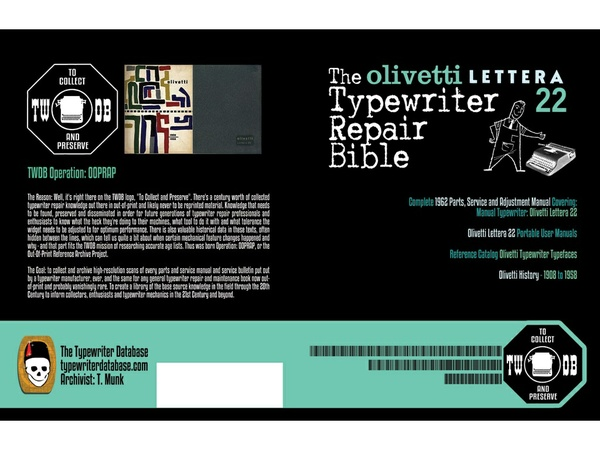 The Olivetti Lettera 22 Typewriter Repair Bible