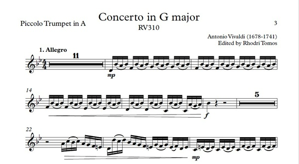 Vivaldi RV310 Concerto in G major. Play along accompaniment mp3 & solo sheet music pdf
