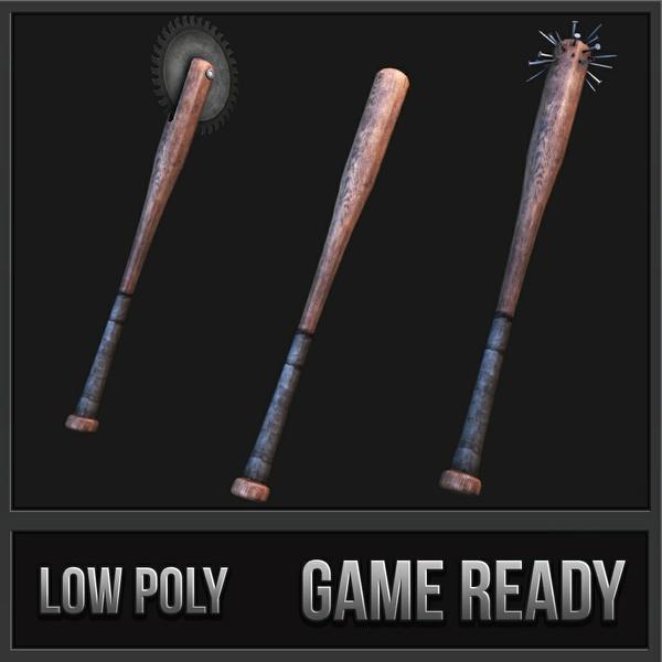 Modded Baseball Bats | 3D Low Poly Models