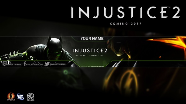 Injustice 2 YouTube Channel Banner Template