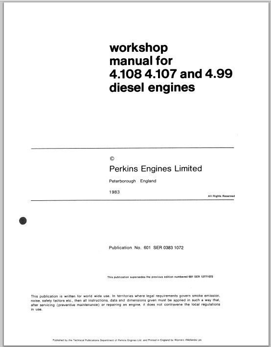 Perkins 4.107 4.108 4.99 Diesel Engines Service Repair Workshop Manual
