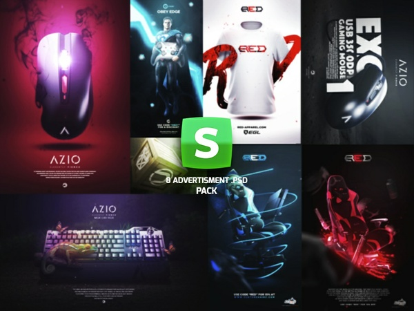 8 Advertisments .PSD Pack !