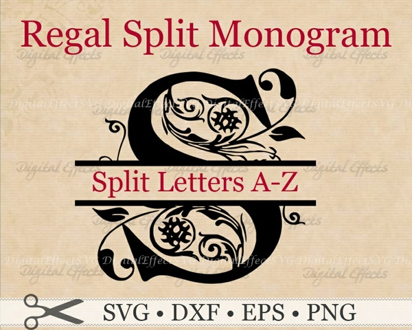 REGAL SPLIT MONOGRAM SVG FILES