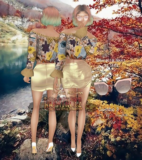 Pretty Autumn combo3 Skirt Bibirasta + Tops +  Sunglasse