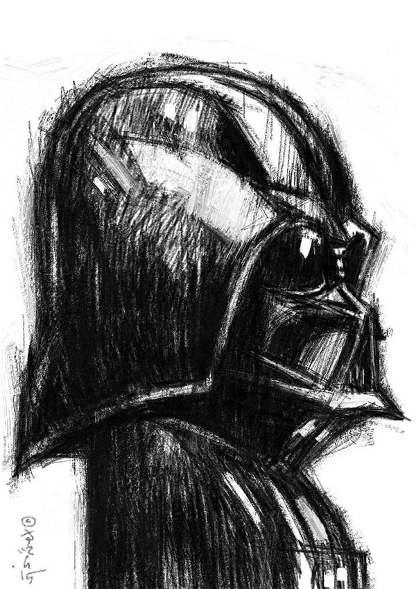 Darth Vader in Pencil. A4 300dpi FREE download Now!