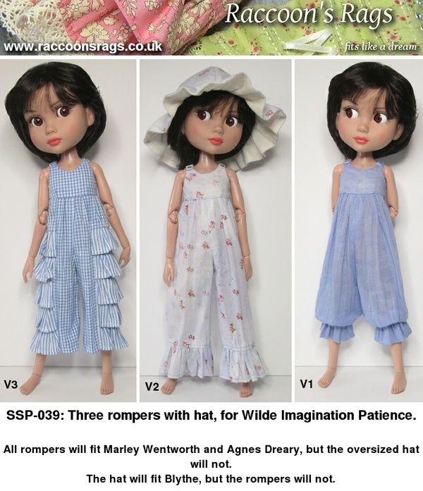 SSP-039: Three rompers and a hat for Patience dolls