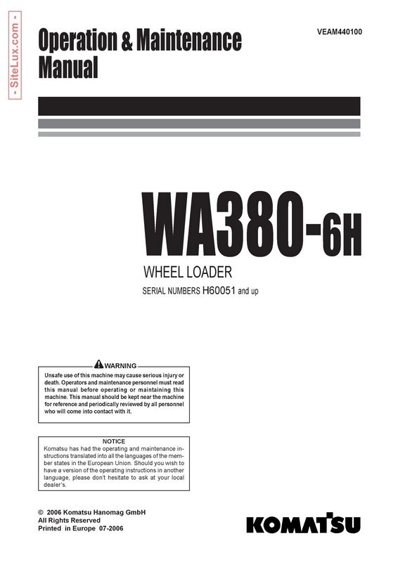 Komatsu WA380-6H Wheel Loader Operation & Maintenance Manual - VEAM440100