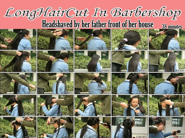 Headshaved by her father at the front of her house