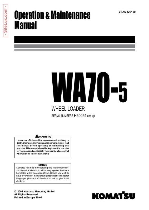 Komatsu WA70-5 Wheel Loader Operation and Maintenance Manual - VEAM320100