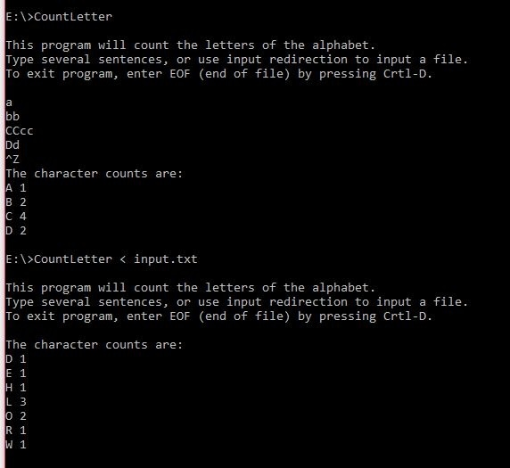 Write a c program that counts number of letters Solution