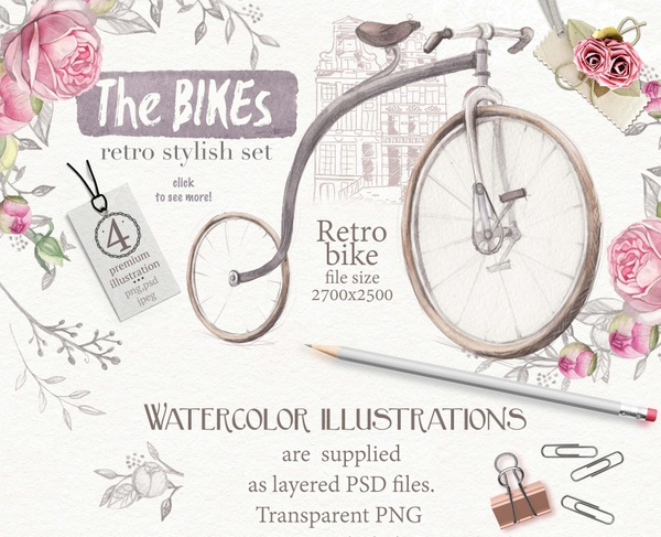 "watercolor set ""The Bikes"""