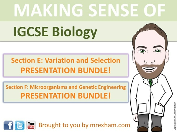 IGCSE Biology - Variation, Selection, Microorganisms and Genetic Engineering Presentation Bundle