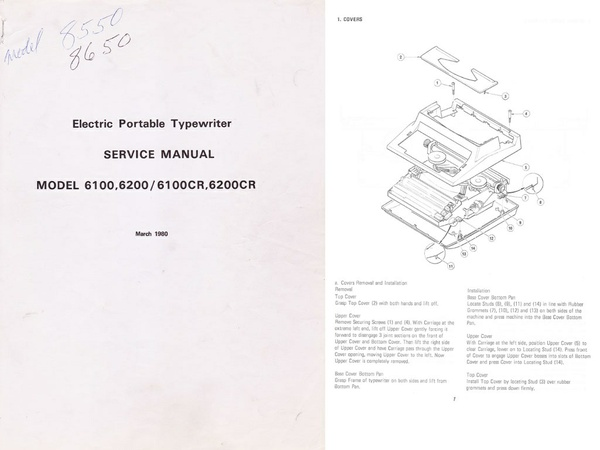 Silver-Reed 6100, 6200, 8500, 8600 Series Electric Typewriter Repair Adjustment Service Manual