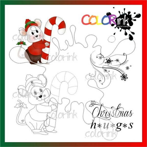 candy cane mouse and sentiment Digi stamp