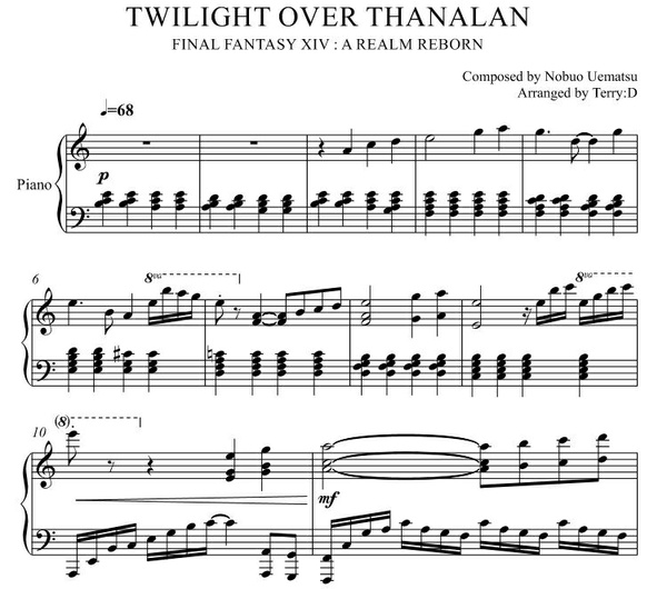 """Twilight Over Thanalan(Arr.by Terry:D)""for Piano solo from Final Fantasy XIV : A Realm Reborn"