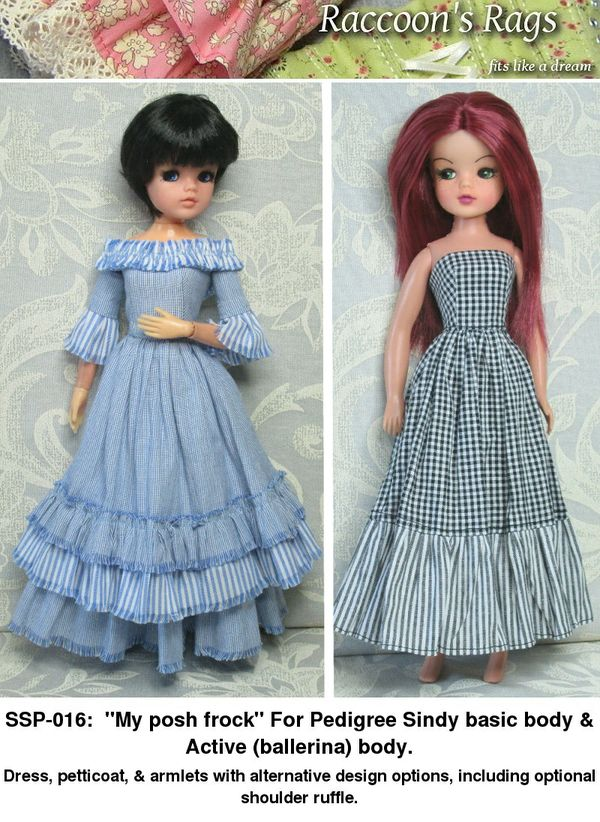 "SSP-016: ""My posh frock"" For Pedigree Sindy basic & active (ballerina) dolls."