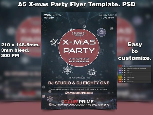 X-mas Flyer Template 6 (A5 PSD)