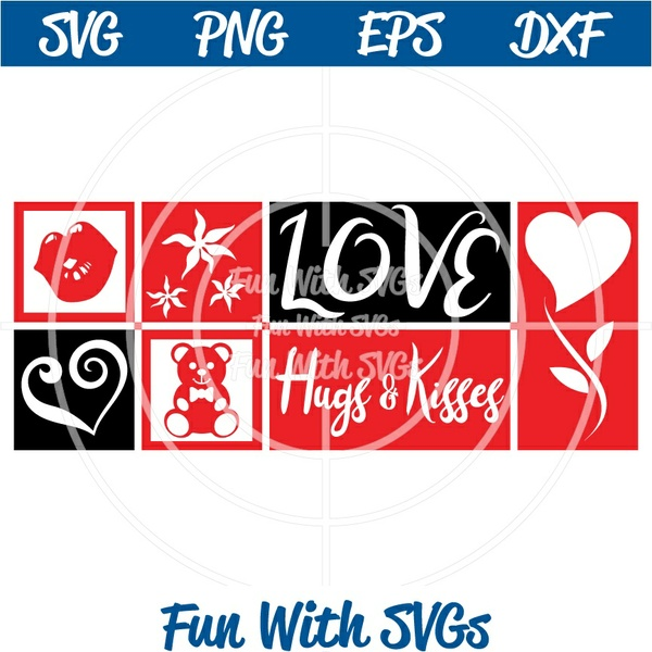 Hugs and Kisses Valentine Subway Tiles, SVG, PNG, EPS, DXF