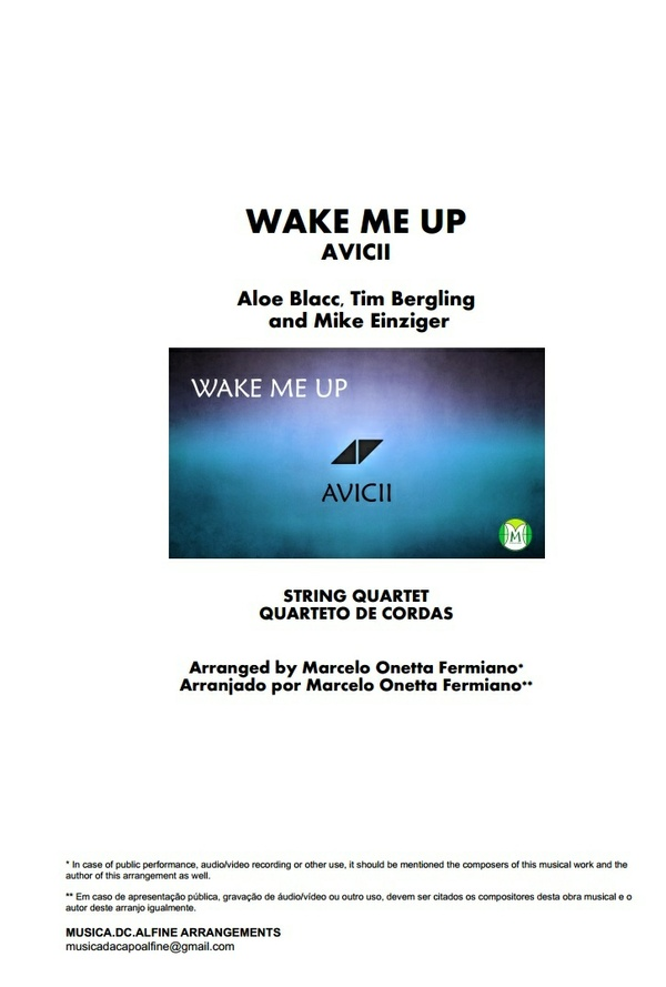 Wake Me Up - Avicii - String Quartet - Score and parts Download
