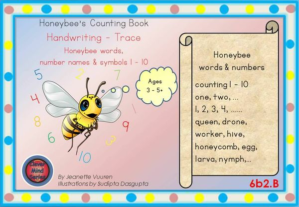 HANDWRITING BOOKLET: HONEYBEE WORDS & PICTURES & NUMBERS 1 - 10 -MEDIUM -  6b2B