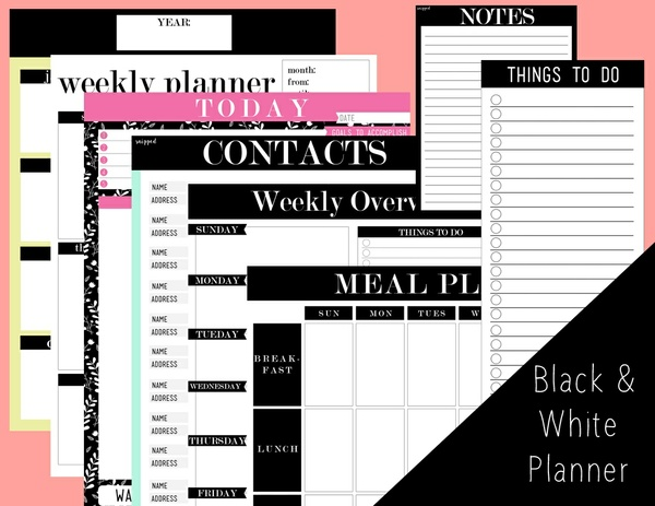 "7"" by 9.25"" Printable Planner (Black and White) by Snipped"