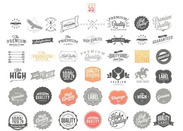 55 Premium Quality Guarantee Vector Label set