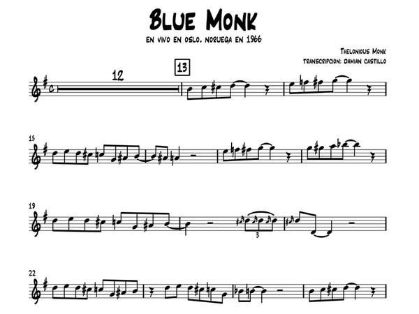 """Thelonious Monk - """"Blue Monk"""" - Sax Alto."""