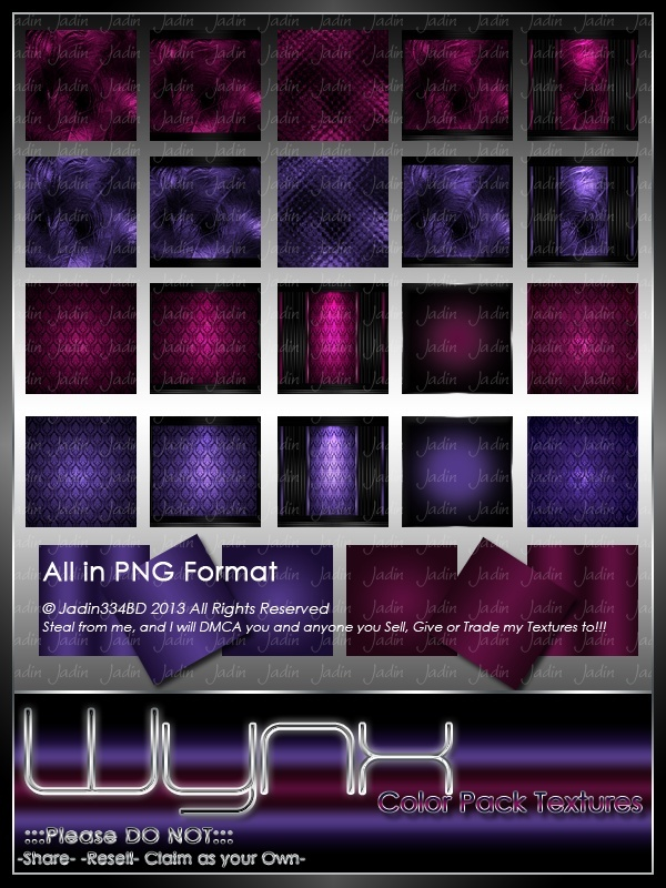 WYNX-Maroon & Purple Texture Pack -- $4.00