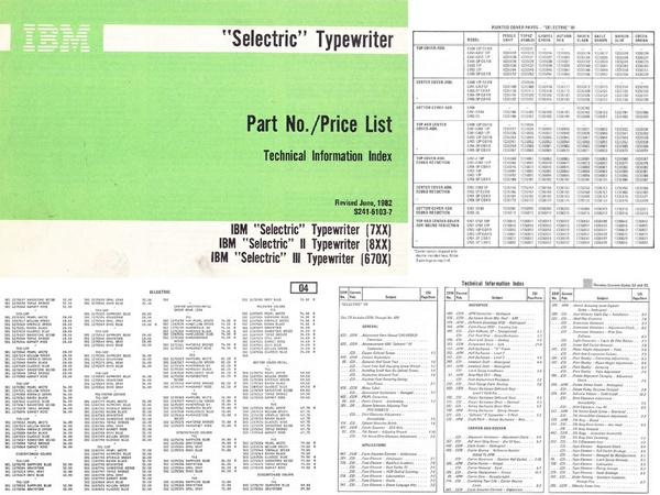 IBM Selectric Typewriter S241-5103-7 PN-PL TII Part Number/Price List & Technical Info Index