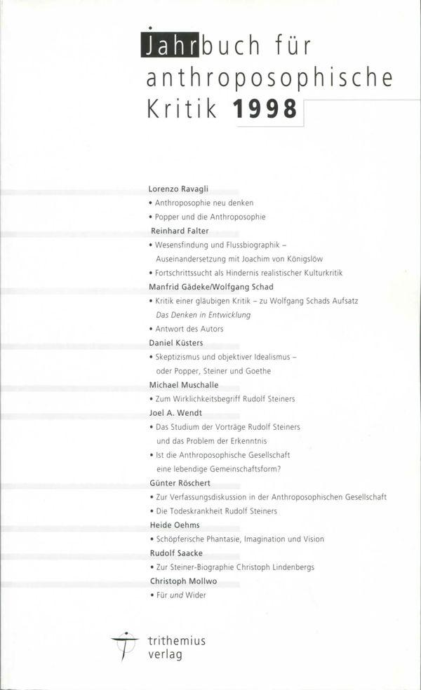 Jahrbuch für anthroposophische Kritik 1998