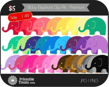 Baby Elephant Digital Clip Art in Different Colors - Premium