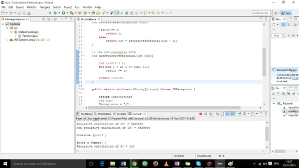 Thisprogram calculates n! with a recursive method.  Factorial.java
