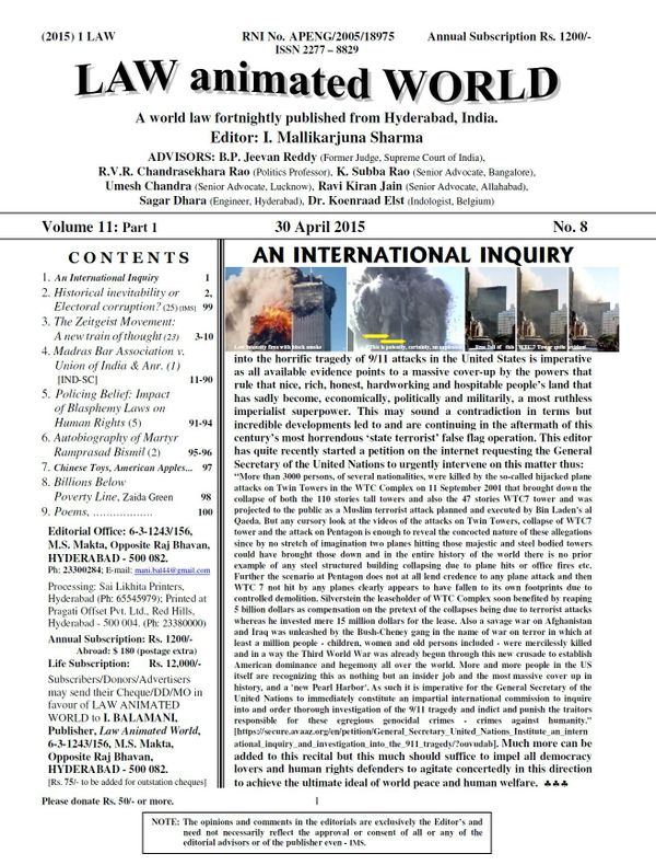 LAW ANIMATED WORLD, 30 April 2015 issue
