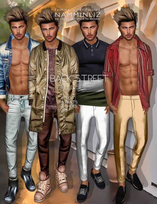 Back Street Full SET imvu Textures JPEG ( 4 Male Top - 4 Pants - 4 Shoes )